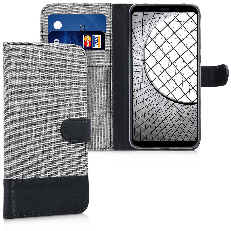 KW Θήκη Πορτοφόλι Xiaomi Redmi 5 Plus - Grey / Black Canvas (44667.22)