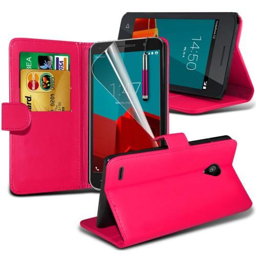 Θήκη Vodafone Smart Prime 7 - Πορτοφόλι (8708) Ροζ - OEM