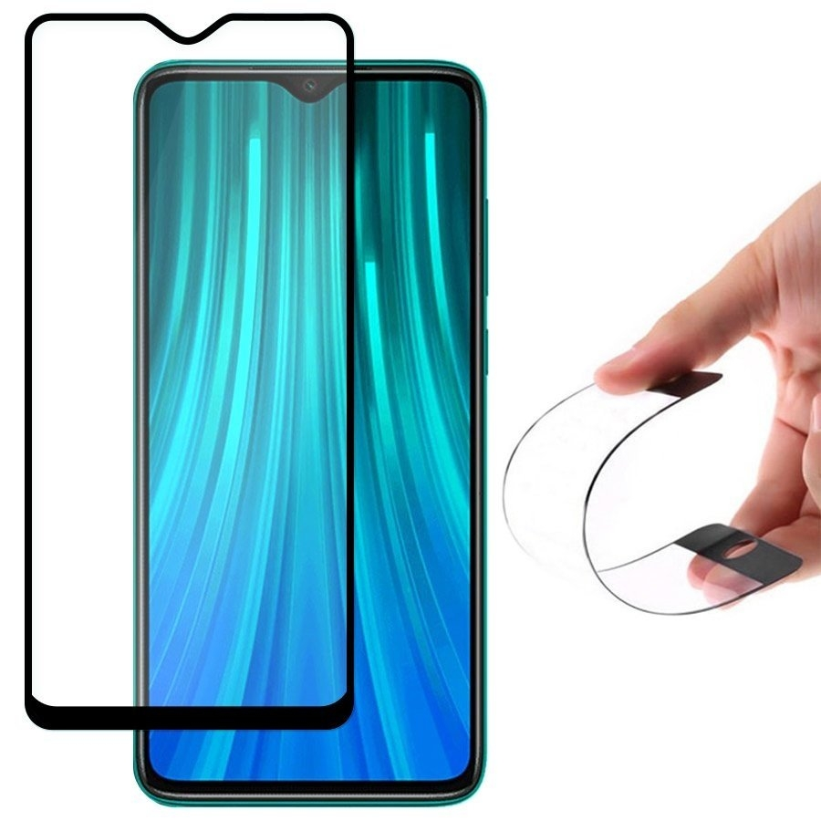 Fullface Nano FlexiGlass Αντιχαρακτικό Γυαλί Οθόνης Xiaomi Redmi Note 8 Pro - Black (64624) - OEM